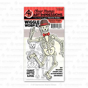 Skeleton Wiggle Clear Rubber Stamps & Die Cutting Dies Art Impressions 4952 New