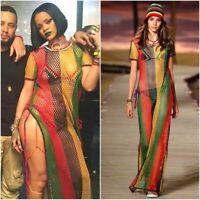 Rihanna Work Work Dress Rasta Jamaican Multicolored Women's String Mesh Maxi