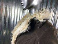 Colebrook Leather Brown Ivory Faux Fur Trim Moto Style Jacket Women Coat Size M