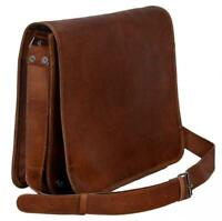 Brown Leather Messenger Bag Shoulder Laptop Bag Briefcase Men's Genuine Vintage