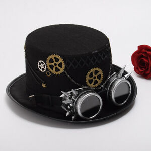 Vintage Gothic Steampunk Silver Goggle Gear Chain Decoration Top Hat Unisex