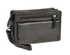 Gents Real Leather Wrist Bag Clutch Travel Black Cab Money Mobile Organiser Man