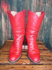 Ladies Justin Red Leather Western Cowboy Roper Boots sz: 5.5 B