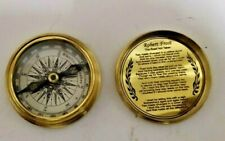 """Brass Antique Vintage Pocket Compass and Robert Frost Poem Compass 2"""" Replica"""