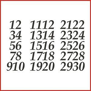 Sticky Back Vinyl Numbers 1-30 Italic 10/15/20/30/40/50mm doors signs lockers