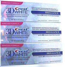 3 X Crest 3D White Brilliance White Dentifrice 116 ml Blanchiment des dents