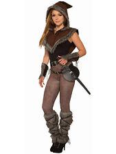 Viking Unisex Adult Barbarian Warrior Fur Trim Hooded Costume Capelet