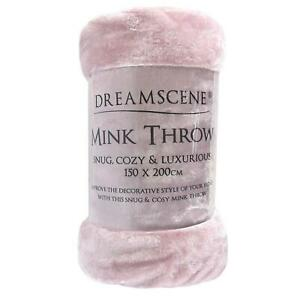 Luxury Faux Fur Large Heather Fleece Throw Over Bed Soft Warm Blanket Light Pink