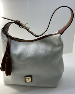 Dooney and Bourke Tassle Hand Bag Purse Hobo Shoulder White Pebble Brown