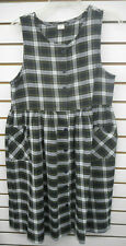 Girls Plaid Uniform Button Up Sleeveless Jumper Dress Size 16