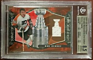 2001-2002 BAP ULTIMATE DYNASTY GAME-USED JERSEY BOBBY CLARKE 33/50 8.5 NM-MT+