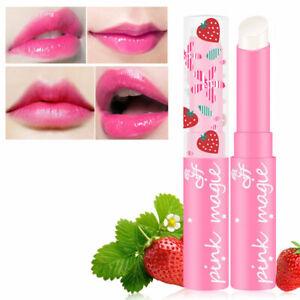 Fashion Strawberry Lipstick Color Changing Moisturizing Lip Balm Gloss Make U8X9