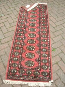 Pakistani Hand Knotted RUNNER RUG 6 x 2ft 163 x 64cm Unused Dk Pink Traditional