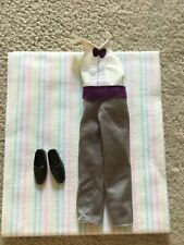 Ken Barbie Doll Tuxedo Suit Jumpsuit Grey Purple Bow Tie Cummerbund Black Shoes