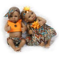 "11"" Realistic Handmade Baby Twins Silicone Cute Reborn Black Dolls Gift for Girl"