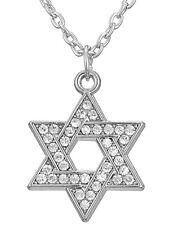 Argento placcato la stella di David Collana Ebraica Ebraismo 45 cm Diamanti Catena Uk
