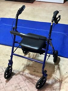 Drive Medical 10257BL-1 Four Wheel Walker Rollator with Fold Up Removable - Blue