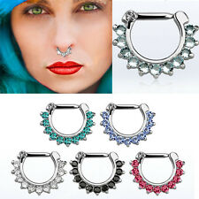 "Nose Piercing Crystal Studded Septum Clicker w/ 14G Closure Bar 1/4""-5/16"" Set"