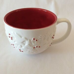 Starbucks Holiday Christmas Coffee Mug 2008 Embossed Dove Deer Tree Holly