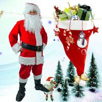 6pcs Men Santa Claus Costume Christmas Xmas Clause Suit Outfit Adult Fancy Dress