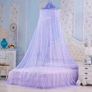 Polyster Round Ceiling Mosquito Net Double Bed,6.5 * 6.5 ft Purple free ship US