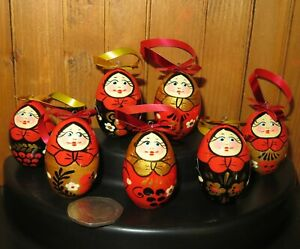 Matryoshka Christmas Tree Ornaments Doll Khokhloma Set 7 RED BLACK Babushka EGGS