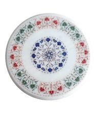 "18"" Marble Table top Handmade inlay PietraDura Floral Art Home Furniture"