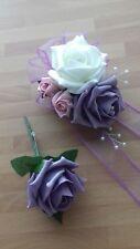 Wedding flowers wrist corsage dusky lilac pink ivory rose & button hole lilac