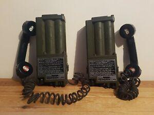 Two Military Racal Field Telephone Handsets UK PTC 404