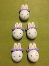 Bunny Rabbit Set 5 Sweater Button Covers Plastic Easter Holiday GGI