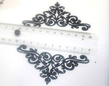 Patch Noir reine couronne de princesse à customiser hotfix Glitter 10 cm
