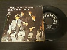 "BEATLES i need you  dizzy miss lizzy  Italy 45rpm 7"" rare"