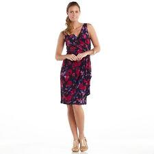 NWT CHAPS Floral Faux-Wrap Jersey Dress - Size AU 6
