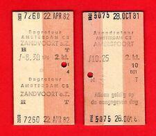 NS Nederlandse Spoorwegen ~ 2 Multiprinter Tickets from Amsterdam Centraal 1980s