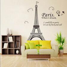 Paris Eiffel Tower Removable Vinyl Art Decal Mural Home Room Wall Sticker Decor