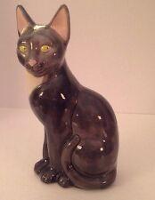 "Vintage Art Pottery Cat Mid-Century Gray White 12"" Sitting Green Eyes"