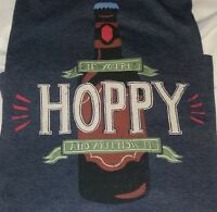 "LITTLE BLUE HOUSE Hatley Men's Craft Beer "" Hoppy "" Blue Tee T-Shirt Sz L ~ NWT"