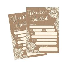 50 Fill In Invitations, Burlap and Lace, Kraft, Wedding Invitations, Bridal S...
