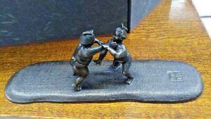 Sumo Wrestler Bronze Statue Japanese Antique Metal Okimono Paperweight Old Japan