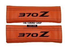 "2x Seat Belt Covers Pads Orange Leather ""370Z"" Black Embroidery for Nissan"