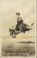 Cowboy Rodeo Red Sublett on Topsy Cheyenne Frontier Days RPPC