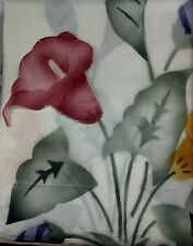 Red Calla Lillies Floral Design Shower Curtain w/ Vinyl liner, tiebacks & hooks