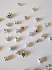 100 CLEAR SEW STITCH-ON LOOSE  CRYSTAL RHINESTONE DIAMOND BEAD - Finding