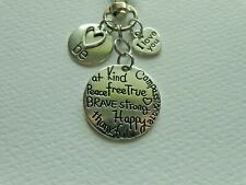 BE HAPPY BE KIND BE BRAVE BE STRONG KEYCHAIN CLIP FOR PURSE BAG BACKPACK FOB