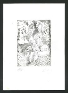 Pablo Picasso Old etching - Hand signed in pencil - Rembrandt et son modèle