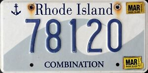 """USA Number Licence Plate RHODE ISLAND """"OCEAN STATE"""""""