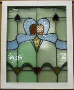 "MIDSIZE OLD ENGLISH LEADED STAINED GLASS WINDOW Multi Hearts Design 22.25"" x 27"""