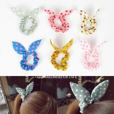 6PCS Lot Korean Rabbit Bunny Ear Polka Dot Ponytail Holder Hair Accessories PH00