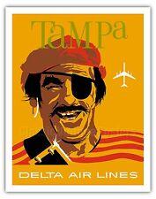 Tampa Florida Pirate Buccaneer Vintage Airline Travel Art Poster Print Giclée