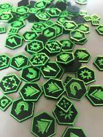 Warhammer Style 40K Kill Team Tokens Tactic Tokens x80 Black & Green